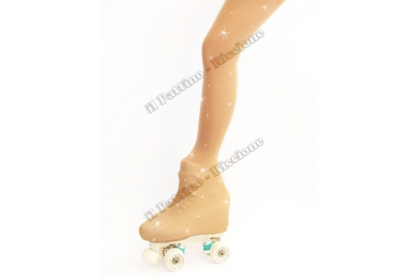 Skating pantyhose natural color with rhinestones